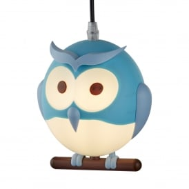 Novelty Children's Single Light Blue Owl Pendant