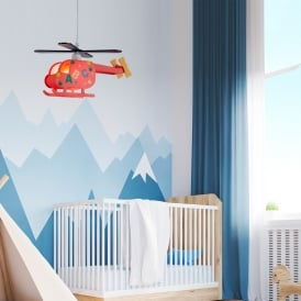 Novelty Children's Single Light Helicopter Ceiling Pendant With ABC Design
