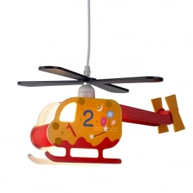 Novelty Children's Single Light Helicopter Ceiling Pendant With Numbered Design