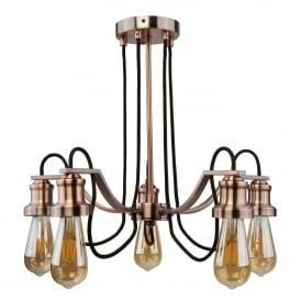 Olivia 5 Light Ceiling Pendant In Antique Copper Finish With Black Braided Fabric Cable