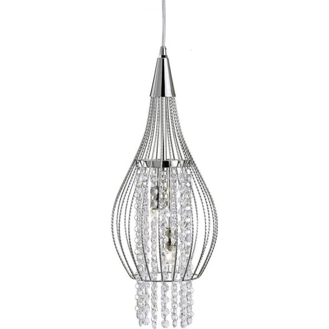 searchlight lighting rocket 2 light ceiling pendant in polished chrome with crystal decoration