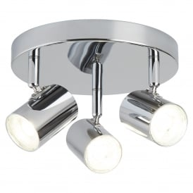 Rollo 3 Light Cylinder Head Spot Light Ceiling Fitting In Polished Chrome Finish