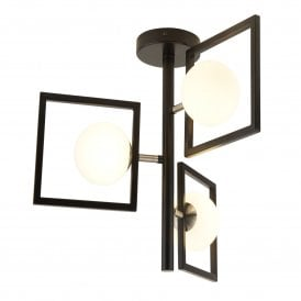 Rosewell 3 Light Ceiling Fitting in Black Finish