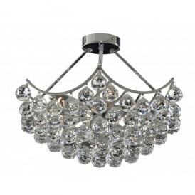 Sassari 5 Light Semi Flush Ceiling Fitting with Crystal Detail and a Polished Chrome Finish