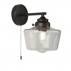 School House Single Light wall Fitting in Black Finish