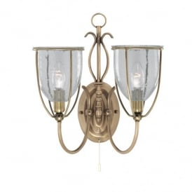 Silhouette 2 Light Wall Fitting in Antique Brass Finish