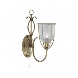 Silhouette Single Light Wall Fitting in Antique Brass Finish