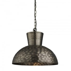 Single Light Antique Brass Hammered Oversized Dome Beaten Pendant Light