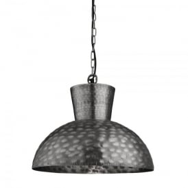 Single Light Antique Silver Hammered Oversized Dome Beaten Pendant Light