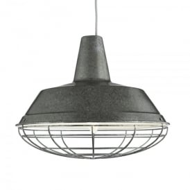 Single Light Antique Silver Industrial Pendant Light With Silver Inner