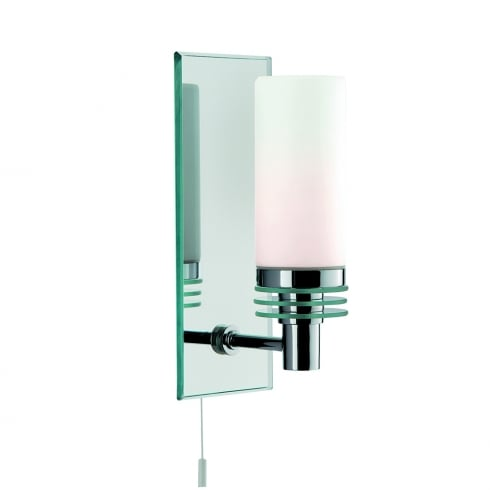 Searchlight Lighting Single Light Bathroom Wall Fitting With Mirror Backplate And White Glass