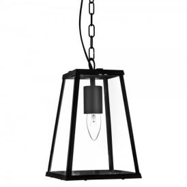 Single Light Ceiling Lantern In Black Finish With Clear Glass Panels