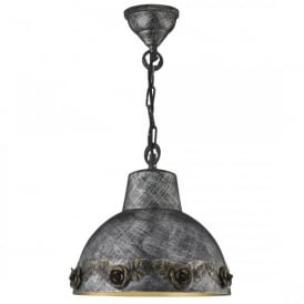 Single Light Ceiling Pendant In Antique Silver Finish With Black Gold Rose Decoration