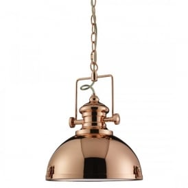 Single Light Ceiling Pendant In Copper Finish With Clear Acrylic Diffuser