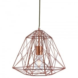 Single Light Copper Geometric Cage Frame Ceiling Pendant