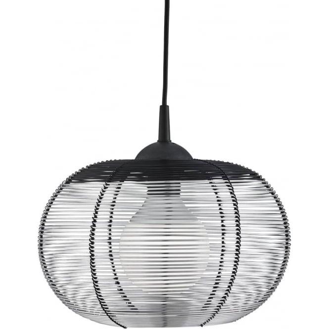 Searchlight Lighting Single Light Dome Cage Silver Pendant