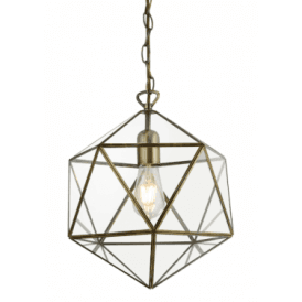 Single Light Geometric Ceiling Pendant in Antique Brass