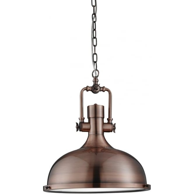 Industrial style pendant lighting Warehouse Style Single Light Industrial Style Ceiling Pendant In Antique Copper Finish With Frosted Glass Diffuser Castlegate Lights Searchlight Lighting Single Light Industrial Style Ceiling Pendant