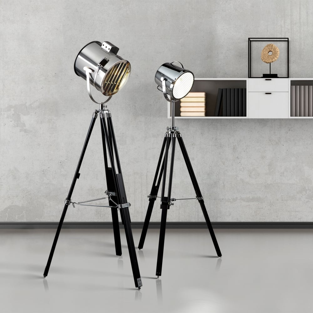 Searchlight lighting single light large studio stage floor lamp with single light large studio stage floor lamp with black base and polished chrome shade aloadofball Image collections
