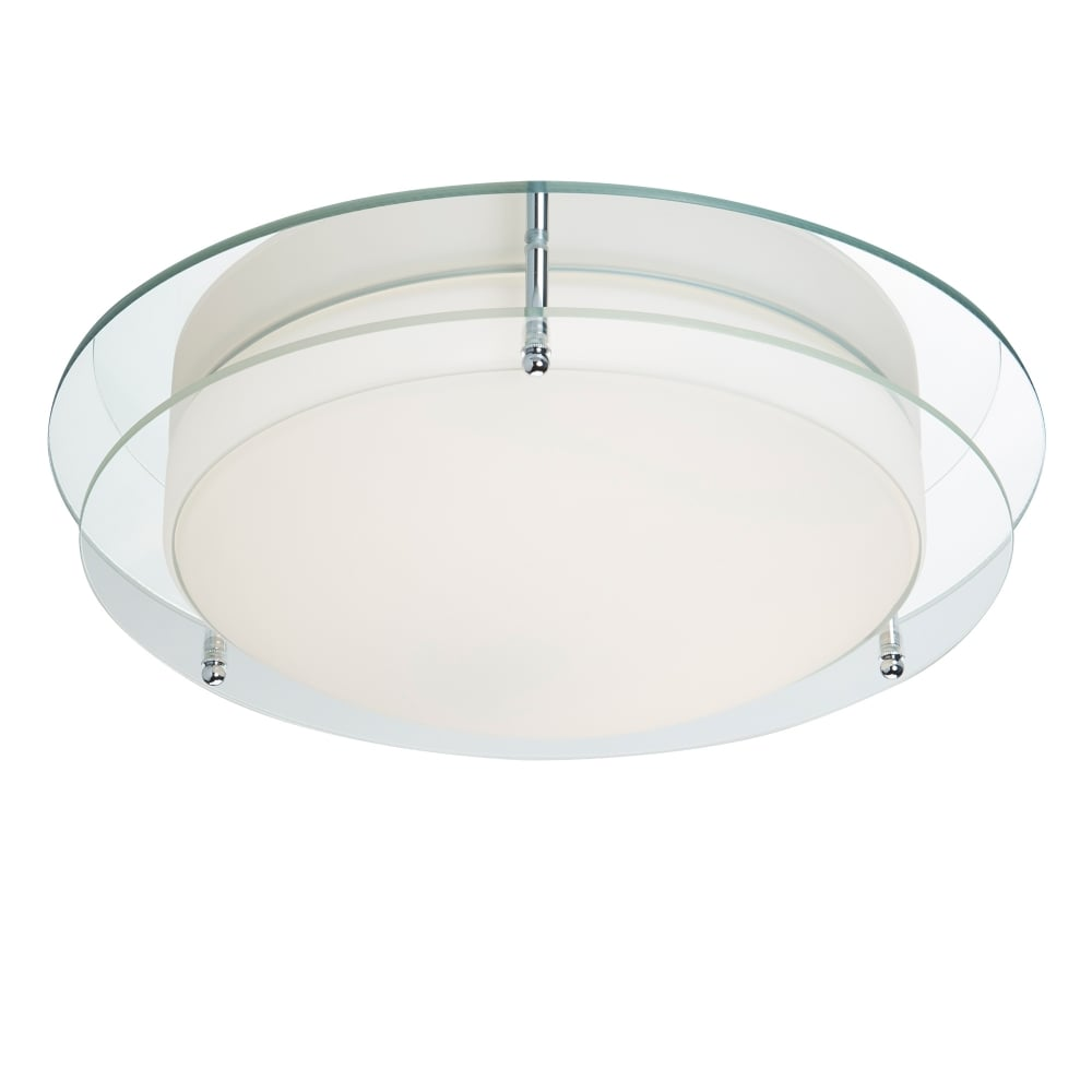 led flush fitting bathroom ceiling light opal glass with chrome ring searchlight lighting single light led flush bathroom ceiling fitting with mirror glass backplate
