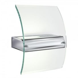 Single Light Low Energy Wall Fitting In Polished Chrome And Clear Glass Finish