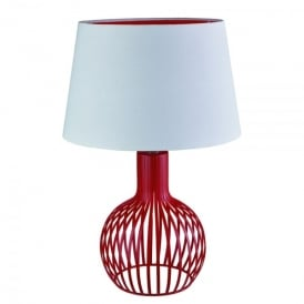 Single Light Red Cage Design Table Lamp With White Shade & Red Inner