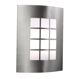 Single Light Stainless Steel Outdoor Wall Fitting With Square Opal Polycarbonate Diffuser