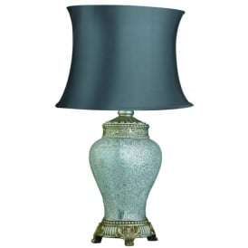 Single Light Table Lamp In Antique Silver And Chrome Finish With Grey Fabric Shade