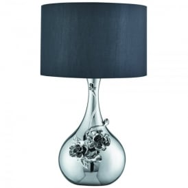 Single Light Tall Table Lamp In Polished Chrome Finish With Flower Decoration And Black Fabric Shade