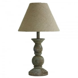 Single Light Washed Wood Oak Table Lamp With Spindle Ball Base And Beige Fabric Shade
