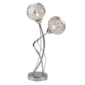 Souk 2 Light Table Lamp In Polished Chrome Finish With Fretwork Pattern Shades
