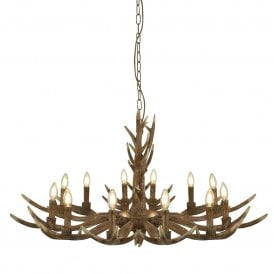 Stag 12 Light Ceiling Fitting in Rustic Brown Finish