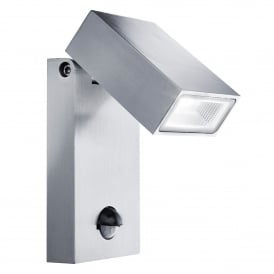 Stainless Steel LED Outdoor Wall Fitting With PIR Motion Sensor And Adjustable Lamp Head
