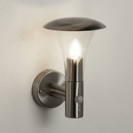 Strand Single Light Outdoor Wall Fitting In Stainless Steel Finish With PIR Sensor