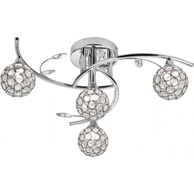 Searchlight Lighting Swirls 4 Light Semi-Flush Ceiling Fitting with Decorative Glass Diffusers