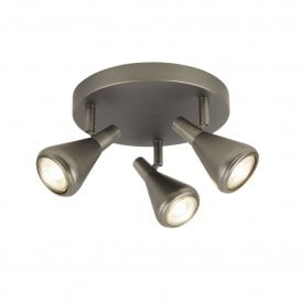 Tinley 3 Light Ceiling Fitting in Antique Silver Finish