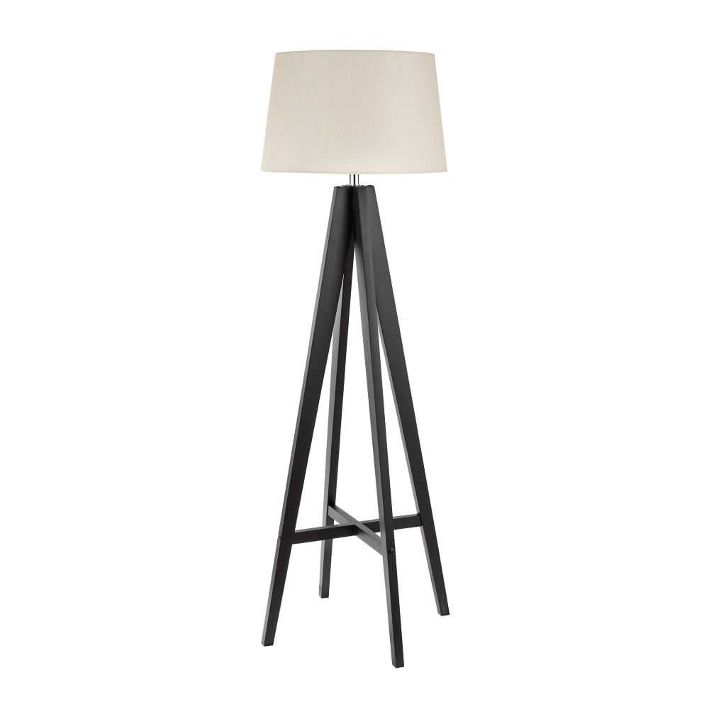 Searchlight lighting tripod single light dark wood floor lamp with tripod single light dark wood floor lamp with cream linen shade aloadofball Image collections