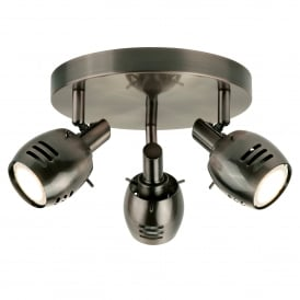 Trojan 3 Light Ceiling Spotlight Split Bar In Antique Silver Finish