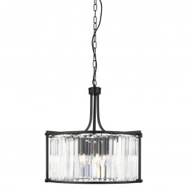 Victoria 5 Light Ceiling Pendant in Black Finish