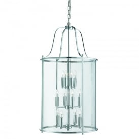 Victorian Lantern 12 Light Ceiling Pendant In Polished Chrome Finish With Clear Glass Panels