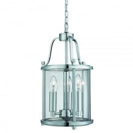 Victorian Lantern 3 Light Ceiling Pendant In Polished Chrome Finish With Clear Glass Panels