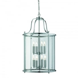 Victorian Lantern 8 Light Ceiling Pendant In Polished Chrome Finish With Clear Glass Panels