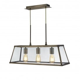 Voyager 3 Light Ceiling Fitting in Antique Brass Finish