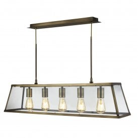 Voyager 5 Light Ceiling Pendant in Antique Brass Finish