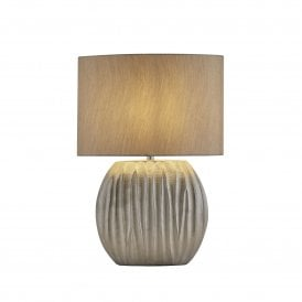 Zenna Single Light Ceramic Table Lamp in Silver Finish