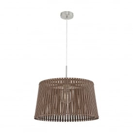 Sendero Single Light Large Ceiling Pendant In Satin Nickel Finish With Dark Brown Wood Shade