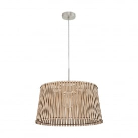 Sendero Single Light Large Ceiling Pendant In Satin Nickel Finish With Maple Wood Shade