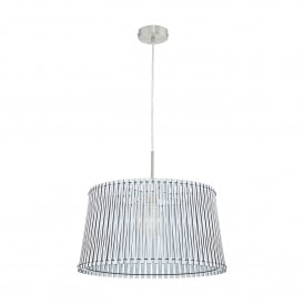 Sendero Single Light Large Ceiling Pendant In Satin Nickel Finish With White Wood Shade