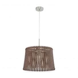 Sendero Single Light Medium Ceiling Pendant In Satin Nickel Finish With Dark Brown Wood Shade