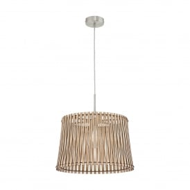 Sendero Single Light Medium Ceiling Pendant In Satin Nickel Finish With Maple Wood Shade